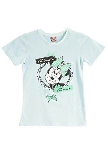 Mickey Mouse Mickey & Minnie Mouse Lisanslı Açık Gri Kız Çocuk T-Shirt Yeşil